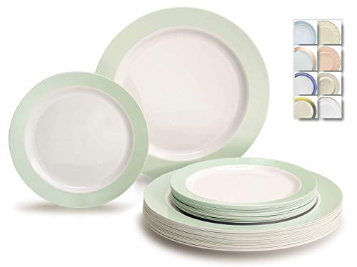 ' OCCASIONS' 50 Plates Pack (25 Guests)-Wedding Party Disposable Plastic Plate Set -25 x 10.5'' Dinner + 25 x 7.5'' Salad/Dessert plates (Rio, in White & Pearled Green)