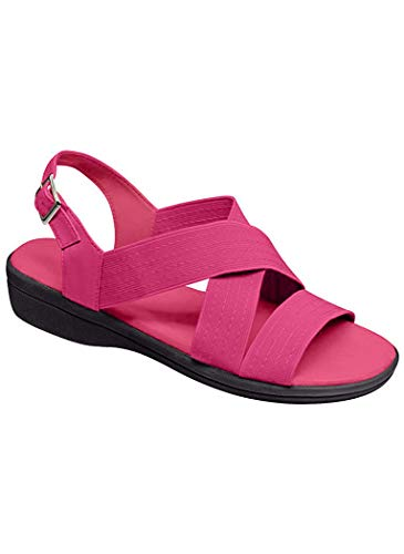 AmeriMark Women's Adult Cross Strap Sandal Synthetic Sandals Fuchsia 11 Wide US Women