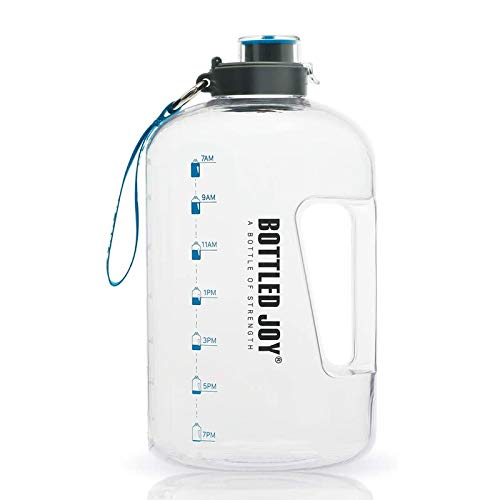 BOTTLED JOY 2.2L Water Bottle, BPA Free 75oz Large Water Bottle Hydration with Motivational Time Marker Reminder Leak-Proof Drinking Big Water Jug for Camping Sports Workouts and Outdoor Activity