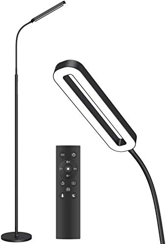SOARZ LED Floor Lamp with 4 Color Temperatures and Stepless Dimmer, Adjustable Goose Neck Standing Lamp with Touch Control and Remote Control for Living Room, Bedroom and Office, Black