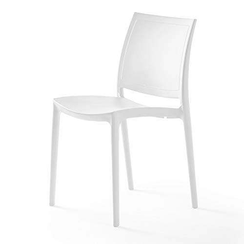 P'kolino Luna Modern Chair Indoor/Outdoor, Dining/Desk, Commercial Grade Accent Side Chair … (2, White - no arms)