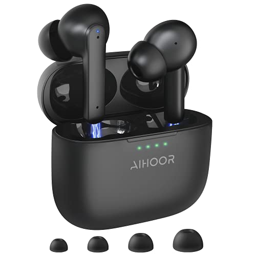 AIHOOR Active Noise Cancelling Wireless Earbuds, ANC Bluetooth 5.0 Headphones with Charging Case, Touch Control, Built-in 4 Mic Earphones, Deep Bass, 30H Playtime, Waterproof Headset for Android iOS
