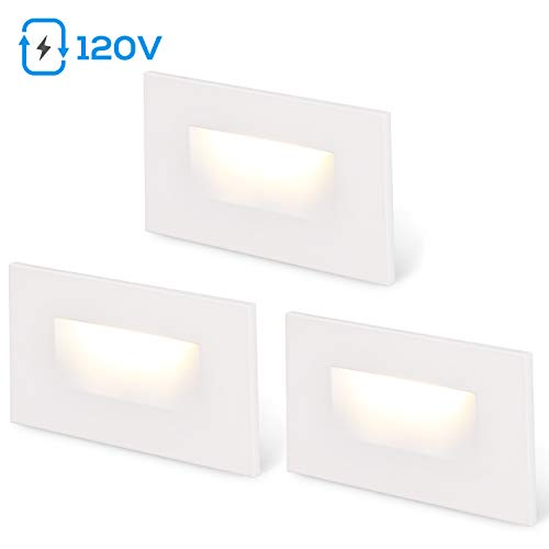 LEONLITE 120V Step Lights White Dimmable Indoor LED Stair Light, 150lm CRI 90, 3.5W 3000K Warm White, ETL Listed Outdoor Staircase, Aluminum Waterproof, 5-Year Warranty, White, Pack of 3