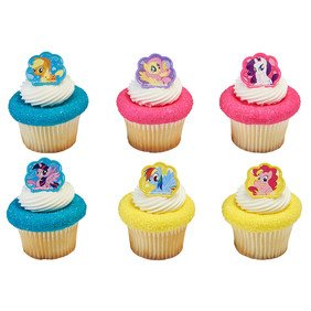 24 Count My Little Pony Cutie Beauty Cupcake Cake Rings Party Favors