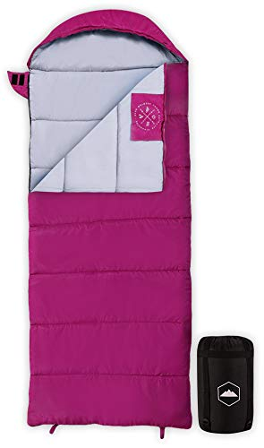 Kids Sleeping Bag for Girls, Boys, Youth & Teens - Perfect for Warm & Cool Weather Camping, Children's Sleepovers & Nap Time - 3-Season, Lightweight & Compact - Fits Kids up to 5'1'