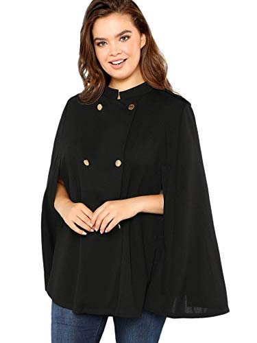 MAKEMECHIC Women's Button Front Cloak Sleeve Elegant Cape Mock Poncho Classy Plaid Print Cape Coat Black 3 1XL