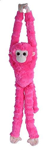 Wild Republic Hanging Plush Monkey Plush, Stuffed Animal, Plush Toy, Gifts for Kids, Pink, 22'