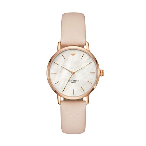 Kate Spade Women's Metro Stainless Steel Analog-Quartz Watch with Leather Calfskin Strap, Beige, 16 (Model: KSW1403)