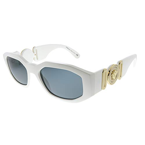Versace VE 4361 401/87 White Plastic Geometric Sunglasses Grey Lens