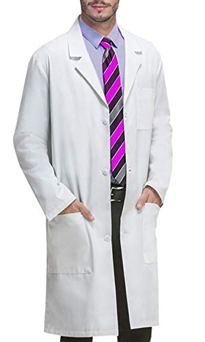 VOGRYE Professional Lab Coat for Women Men Long Sleeve, White, Unisex XL