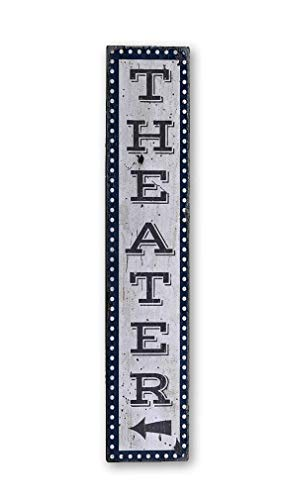 Movie Room Sign, Home Theater Sign, Vertical Theater Sign Wood Theater Sign, Home Theater Decor - Rustic Hand Made Wooden Sign - 7.25 x 36 Inches