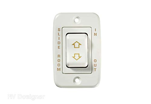 RV Designer S145, Slide In / Slide Out Contoured Switch, 20 Amp Continuous, 40 Amp Peak, White, DC Electrical