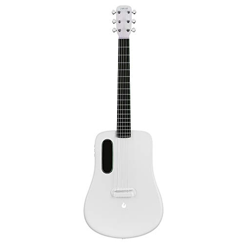 LAVA ME 2 Carbon Fiber Guitar with Effects 36 Inch Acoustic Electric Travel Guitar with Bag Picks and Charging Cable (Freeboost-White)