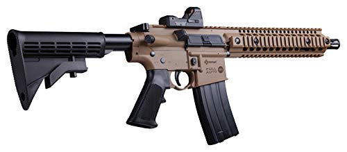 Crosman CFAR1X Full Auto R1 CO2-Powered BB Air Rifle With Dual Action Capability And Red Dot Sight, Black/FDE