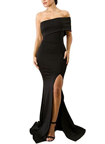 ZKESS Women's Sexy Gown Dresses Fishtail Side Split Party Long Dress Black L