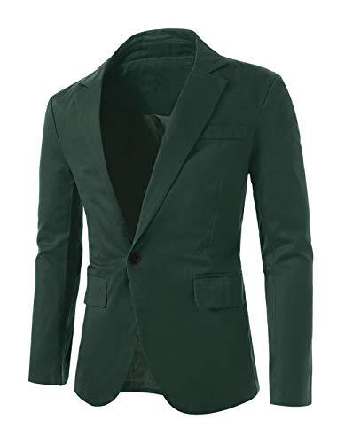 uxcell Men's Suit Jacket One Button Slim Fit Casual Lightweight Sport Coats Blazer Green 42