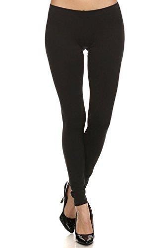 T Party Womens Solid Color Leggings. Black XL