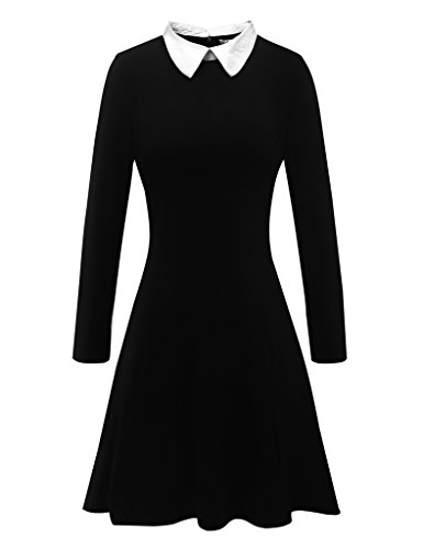 Aphratti Women's Long Sleeve Casual Peter Pan Collar Flare Dress Black Small
