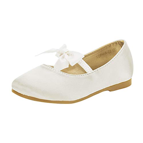 DREAM PAIRS Sophia-22 Adorables Mary Jane Front Bow Elastic Strap Ballerina Flat Little Kid New Ivory Size 2
