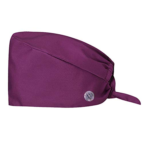 One Size Working Cap with Button & Sweatband, Adjustable Bouffant Hats for Women and Men (Purple)
