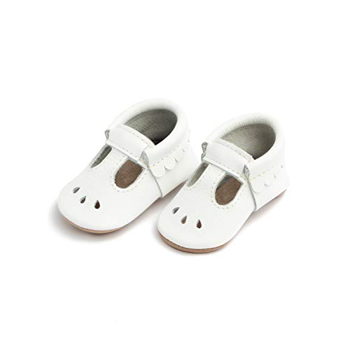 Freshly Picked - Rubber Mini Sole Leather Mary Jane Moccasins - Toddler Girl Shoes - Size 6 Bright White