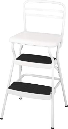 Cosco White Retro Counter Chair / Step Stool with Lift-up Seat