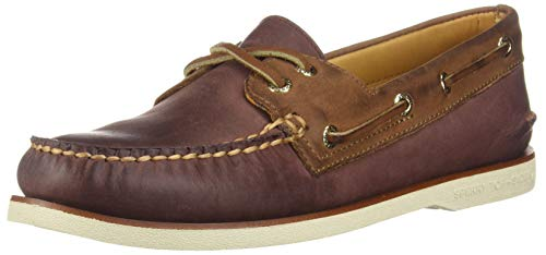Sperry mens Gold Authentic Original 2-eye loafers shoes, Chevre-burgundy-brown, 9 US