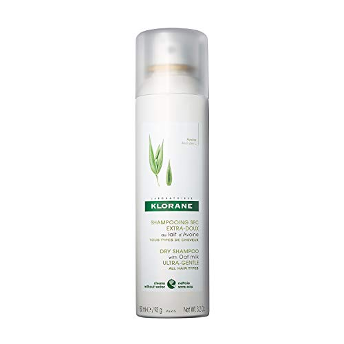 Klorane Dry Shampoo with Oat Milk, Ultra-Gentle, All Hair Types, No White Residue, Paraben & Sulfate-Free, 3.2 oz.
