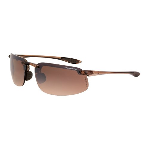 Crossfire 211125 Brown Safety Glasses, Scratch-Resistant, Frameless, Adult