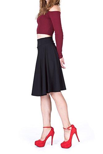 Impeccable Elastic High Waist A-line Full Flared Swing Skater Knee Length Skirt (S, Black)