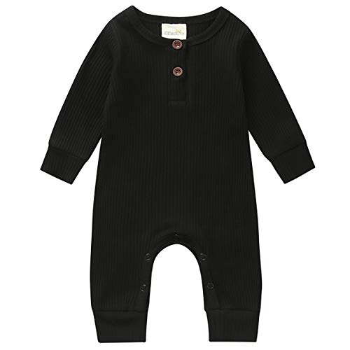 Kuriozud Newborn Infant Unisex Baby Boy Girl Sleeveless Button Solid Knitted Romper Bodysuit One Piece Jumpsuit Summer Outfits Clothes (Long Sleeve one Piece Black, 0-3 Months)