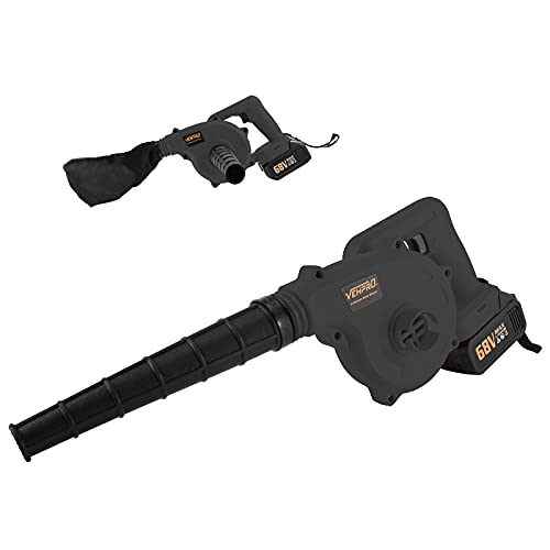 Hugncmy Cordless Leaf Blower 2-in-1 Sweeper│21V 3.0 Ah Lithium Battery│150MPH Continuously Variable Speed│Vacuum for Blowing Leaf Clearing Dust Car Computer Host Hard to Clean Corner (Black)