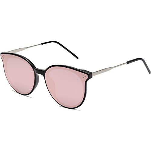 SOJOS Fashion Round Sunglasses for Women with Rivet Plastic Frame DOLPHIN SJ2068 with Black Frame/Pink Mirrored Lens