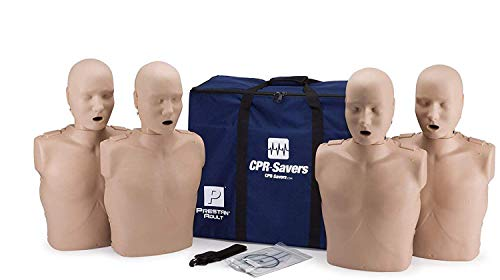 CPR Savers Prestan Professional Adult CPR Training Manikin with 2019 AHA Feedback Monitor, Medium Skin, 4-Pack, PP-AM-400M-MS