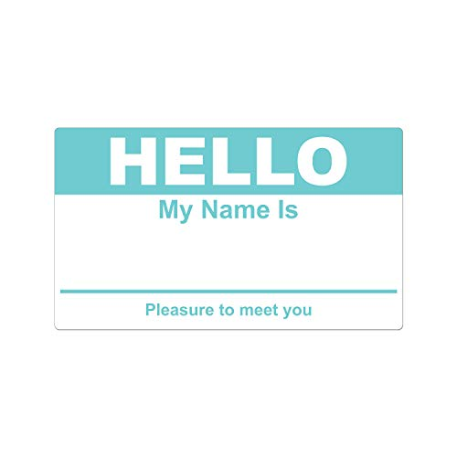 OfficeSmartLabels 2-5/16' x 4' - Hello My Name is Name Tag Stickers - Hello My Name is Name Tag Labels (800 Labels/Turquoise)