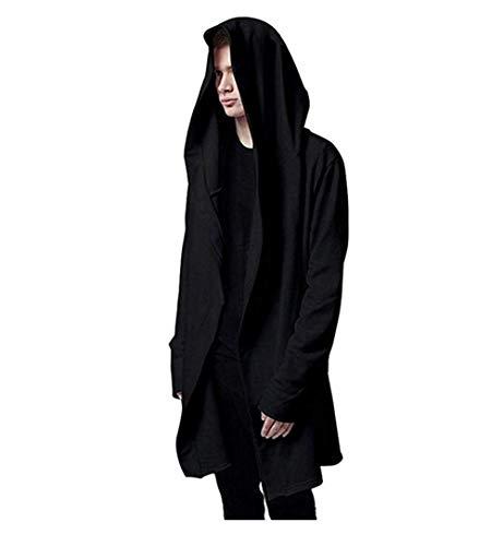 Men's Casual Long Hooded Cardigan Large Cape Cloak Black Coat