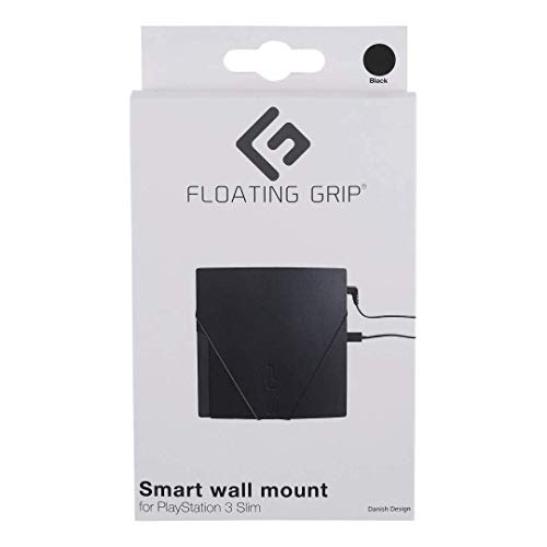 FLOATING GRIP Wall Mount for PlayStation 3 Slim (PS3 Slim). Color: BLACK. 1x Wall Mount for PlayStation 3 Slim (PS3 Slim). Storage PS3 Slim on the wall right next to your TV or hide it behind.