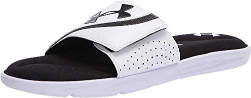 Under Armour Men's Ignite VI SL Slide Sandal, White (100)/Black, 11 M US