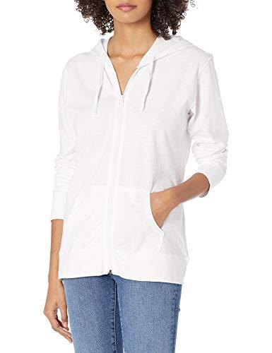 Hanes Women's Jersey Full Zip Hoodie, White, XX-Large