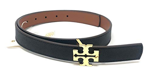 Tory Burch Women's Skinny 1' Width Reversible Logo Saffiano Leather Belt (Small, Black/Classic Tan)