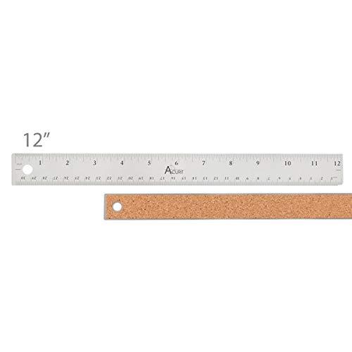 Acurit Stainless Steel Ruler Cork Back Measuring Ruler, Used for Drafting, Measuring, Drawing, Art - 12 Inch Ruler