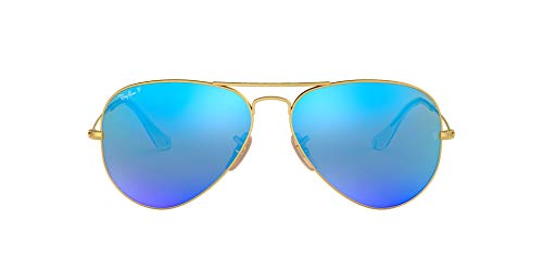 Ray-Ban Unisex-Adult RB3025 Classic Sunglasses, Matte Gold/Blue Mirror Polarized, 58 mm