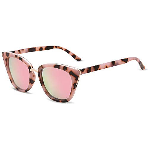 SOJOS Cat Eye Designer Sunglasses Fashion UV400 Protection Glasses SJ2052 with Pink Tortoise Frame/Pink Mirrored Lens