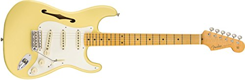 Fender Eric Johnson Stratocaster Thinline Semi Hollow Body Electric Guitar (Vintage White)