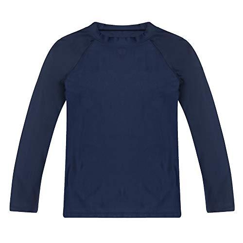 Boys' Long Sleeve Rashguard Swimwear Rash Guard Athletic Tops Swim Shirt UPF 50+ Sun Protection, Navy 3T