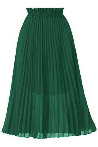 GOOBGS Women's Pleated A-Line High Waist Swing Flare Midi Skirt Deep Green Large/X-Large