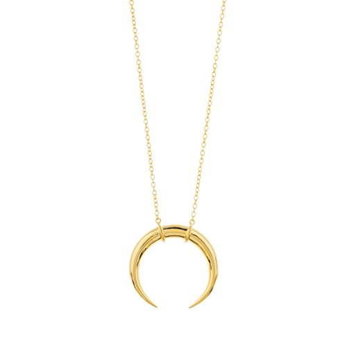gorjana Women's Cayne Crescent Moon Pendant Necklace, 18k Gold Plated, 26 inch Long Delicate Strand Chain