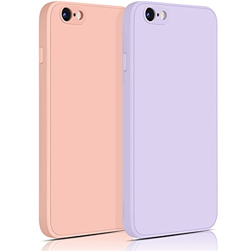 YILED 2 Pack Compatible with iPhone 6 / iPhone 6s Case,Silicone Slim Shockproof Phone Case for iPhone 6/6s,Soft Microfiber Lining,4.7 inch (01 Purple+Pink)