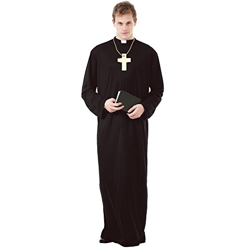 Prayerful Priest Men's Halloween Costume Catholic Cardinal Monk Friar Robes, Brown, X-Large