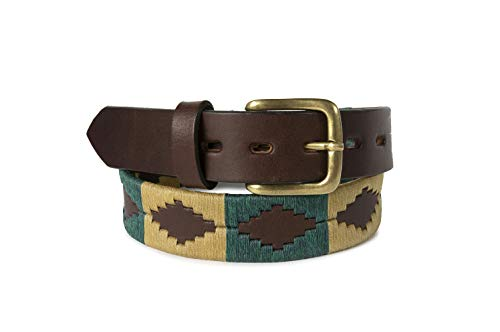 Polo Belt Hand-Stitched leather belt GaucholIfe (Green and Tan, 42)